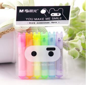 6 pcs/lot Cute Kawaii Mini Highlighter Creative Lovely Cartoon Ninja Rabbit gel Pen for Kids Korean Stationery Free shipping 531