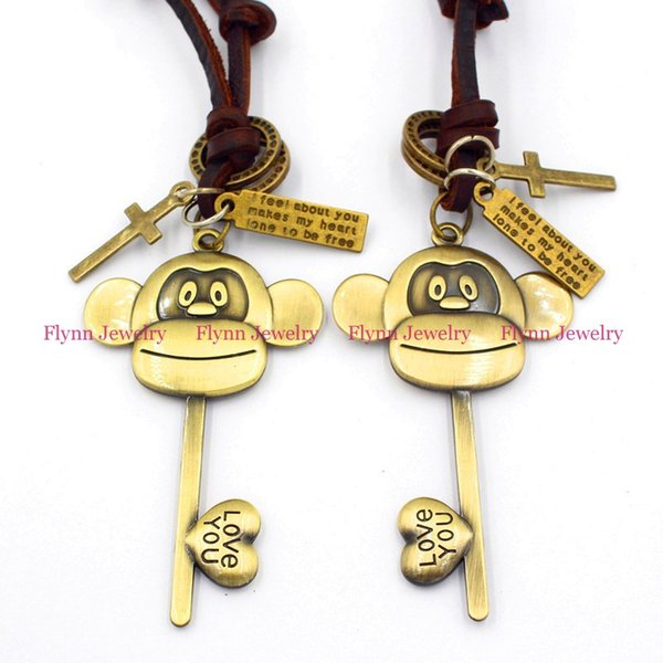 Little monkey Key Accessories Metal Pendant Amulet Adjustable Leather Necklace Punk Cowboy Decorations Gift 10pcs/lot