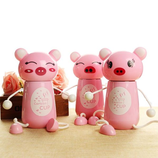 Criativo Copo de Isolamento 300 ml Dos Desenhos Animados Pendurado Pé Pink Pig Térmica Garrafa de Aço Inoxidável Crianças Frasco De Vácuo Cor Rosa