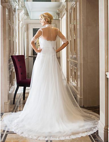 2016 New Fashion Popular Free Shipping Ivory Court Train Strapless Sleeveless Tulle/Lace Sheath Modern Wedding Dresses 181