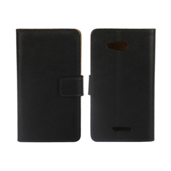 1PCS Drop Shipping Black Genuine Leather Slot Stand Wallet Pouch Back Cover Case for Sony Xperia E4g Phone Bags