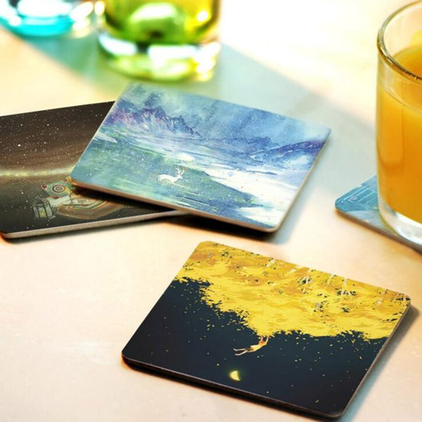 Creative Square Wood Coasters Coffee Coasters Cup Cushion Holder Non-Slip Heat Proof Cup Mat Diy Painted Customizable