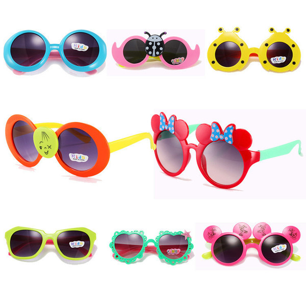 4 Styles Fashion Lovely Kids Sunglasses Summer Baby Glasses Boys Girls Children Cartoon Sunglasses Sun Shades 12 Pcs/Lot Free Shipping