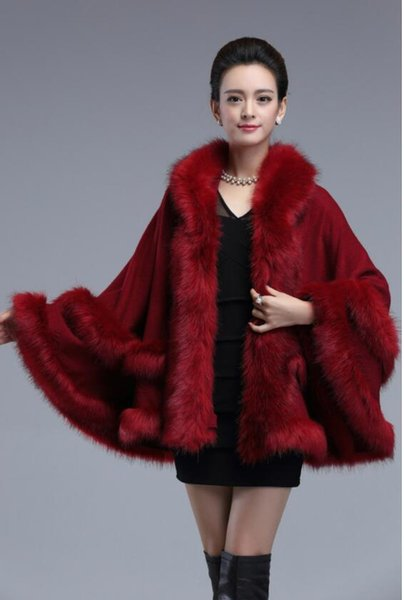 Autumn Winter New Women Knitted Imitation Cashmere Fox Fur Shawl Hooded Cape Poncho Cashmere Fur Pashmina Cappa Noble Party Dress Coat