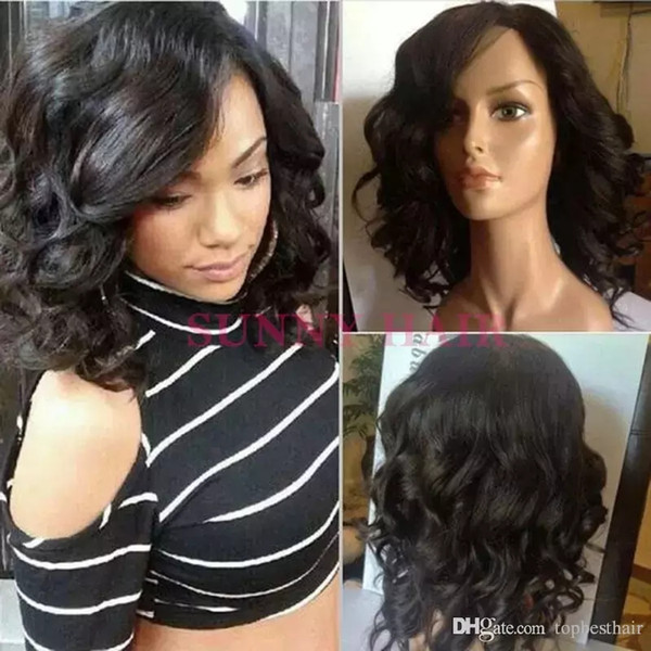 Short Hair Style Wigs For Black Women Bob Virgin Human Hair Lace Front Wig Glueless Short Wave Full Lace Wig BLeached knots