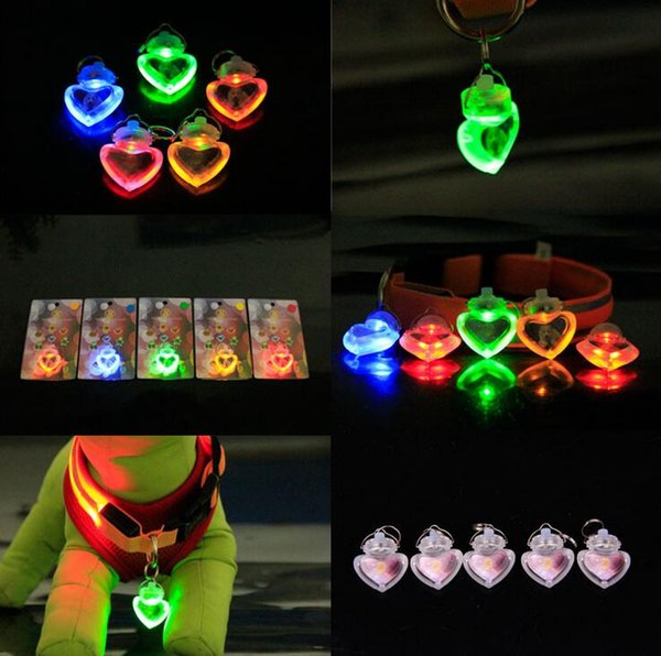 10pcs Pet Supplies dog LED Heart Shape flash safety night light clip safety pendant tag lights dogs Blinker Collars equipment 6 colors