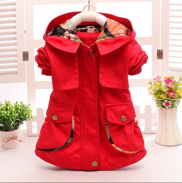 top popular 3 Color Girl Solid color wind coat 2015 new children princess hooded Long sleeve Candy color fashion coat baby clothes B001 2019