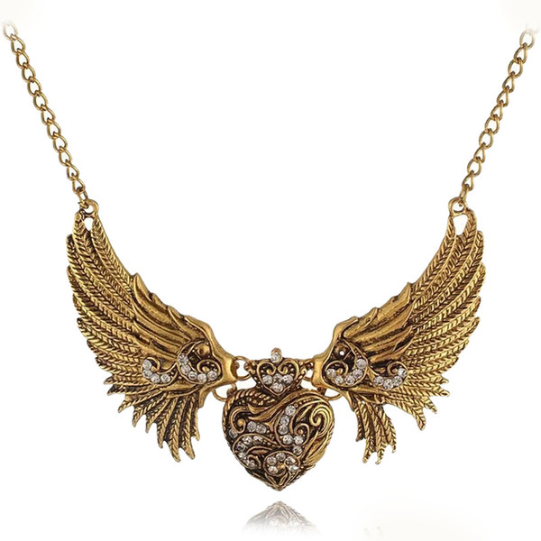Trendy Vintage Style Carved Rhinestone Heart Angel Wing Choker Bib Necklaces Chain Collar Dress Women Necklace Jewelry