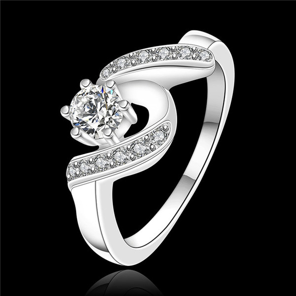 High quality 925 sterling silver swiss CZ Diamond Wedding / Engagement Ring Fashion Jewelry Low Price Free shipping