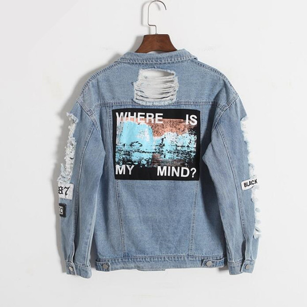 Wholesale- Korea retro washing frayed embroidery letter patch jeans bomber jacket Light Blue Ripped Denim Coat Daylook Letter Print