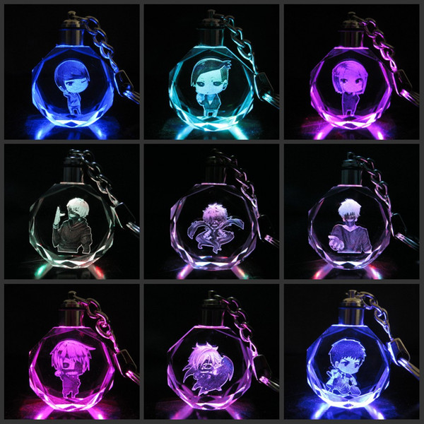 New arrival Anime Action Figure Toys Collections cartoon Tokyo Ghoul Kaneki Ken LED Crystal Keychain Key Ring Chain with Gift Box Packing