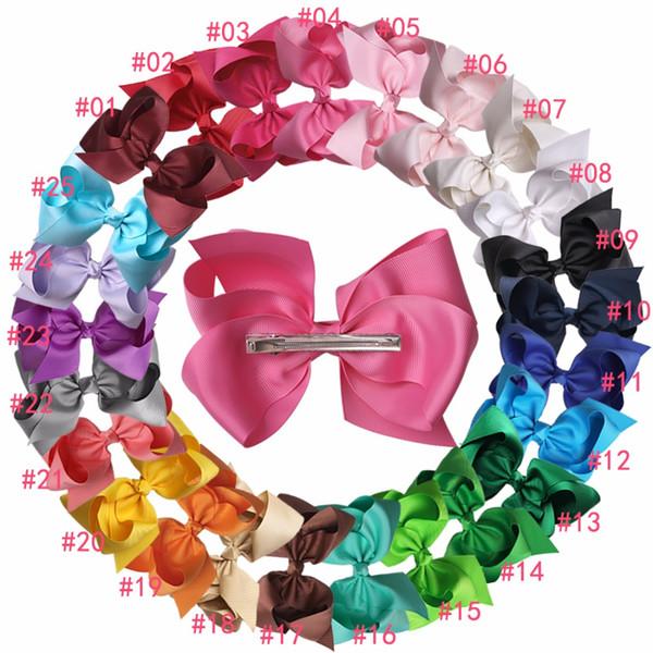 Xima 32pcs /Lot 6inch Big Hair Ribbon Bows Kids Hair Accessories Hair Bows 2017 for Fashion Hairpins Children Women 25 Colors Solid Hairpin