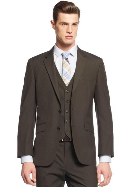 Custom Made New Style Noivo Smoking Notch Lapel dos homens Terno Escuro Marrom Groomsman / Noivo Casamento / Prom Ternos (Jacket + Pants + Tie + Vest) v001