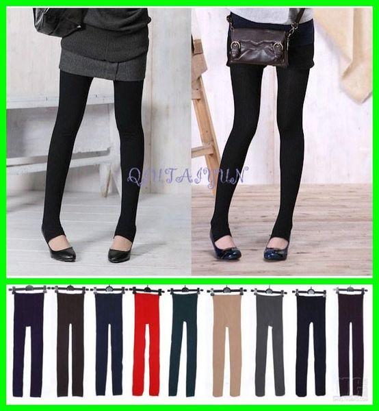 top popular 2015 Newest Fleece-Lined Leggings Warm Winter Faux Velvet Legging Knitted Thick Slim Leggings Super Elastic pantyhose 3 style 50pcs L514 2019