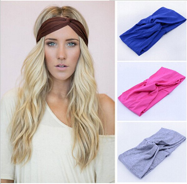 Mode Bonbonfarben Frauen Stretch Twist Stirnband Turban Soft Sport Yoga Kopf Wickeln Bandana Headwear Böhmen stil Haar Zubehör