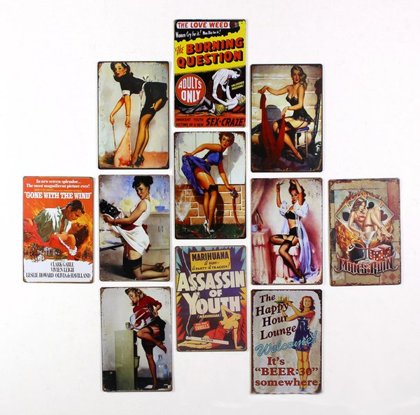 30X 20cm Vintage Metal Painting Retro Poster Tin Car Plate Wall Stickers Cafe Bar Decoration Home Decor Art Tin Sign