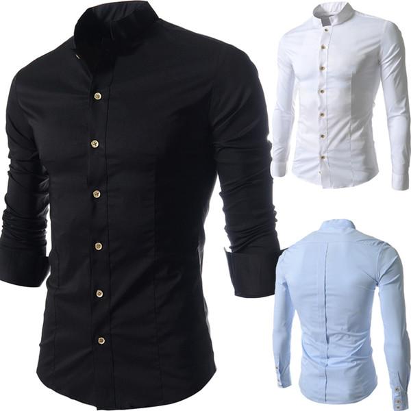 top popular 2018 New Men brand casual shirt Long Sleeve man Cotton Mandarin Collar Autumn Casual Outwear camisa social slim fit dress shirts 2019