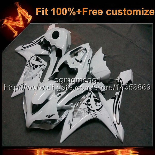 23colors+8Gifts Injection mold WHITE motorcycle cowl for Yamaha YZF-R1 2007-2008 07 08 YZFR1 Bodywork Set ABS Plastic Fairing