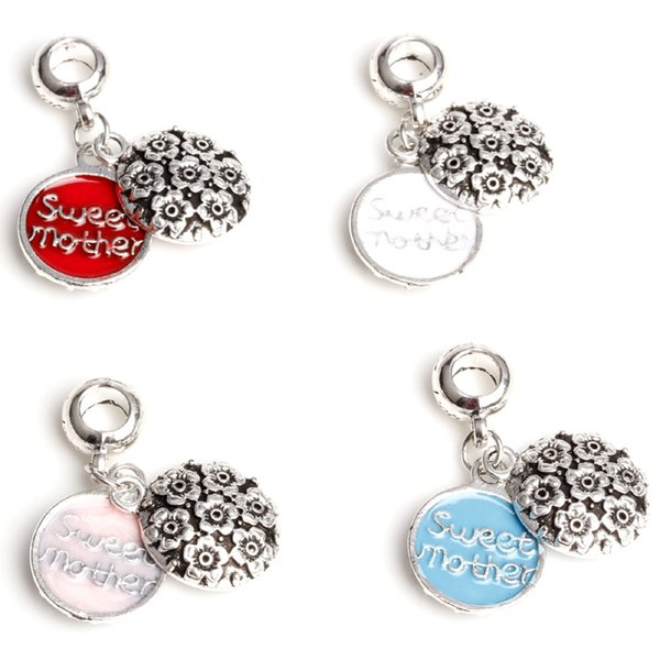 4 colors Big Hole Loose space Beads sweet mother charms pendants For Pandora DIY Jewelry Bracelet women jewelry wholesales freeshipping