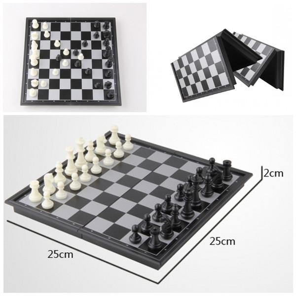 Regalo elegante para niños Juego de ajedrez plegable de campeones Juego de ajedrez y damas magnéticos de viaje 2 en 1 9.84