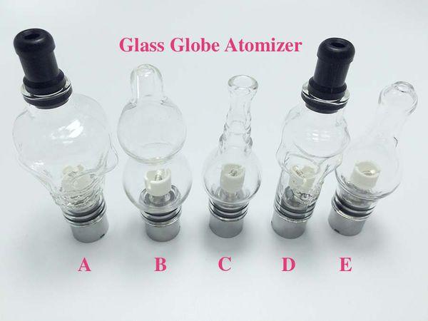 5 Style Glass Globe Atomizer Glass Globe Tank Wax And Herb Vaporizer Dual coil Replacement Ceramic Cotton Coils Wax Glass Aomizer