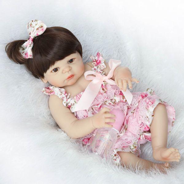55cm Full Body Silicone Reborn Baby Doll Girl Newbron Lifelike Baby -Reborn Princess Doll Birthday Christmas Gift Girl Brinquedos