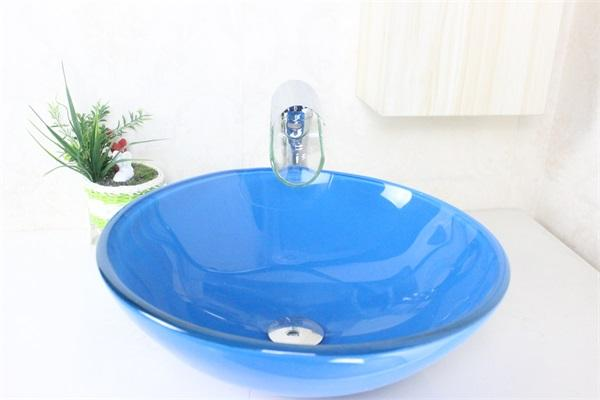 Navy blue sink basin Tempered Glass Vessel Sink With Faucet Set N-447