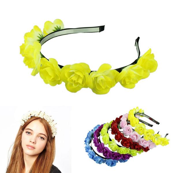 Atacado-elegante 2015 tecido quente flor bandas de cabelo senhora guirlanda de casamento headband acessórios para o cabelo para as mulheres 6 cores