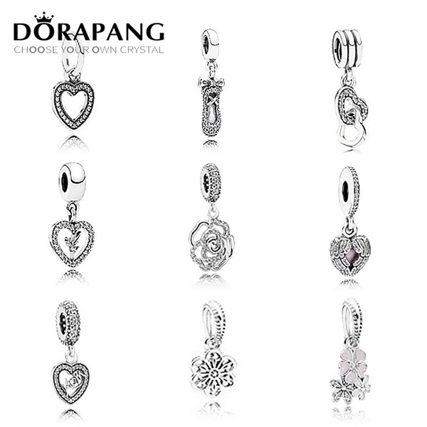 DORAPANG 925 Sterling Silver Charm Love Crystal Snowflake Beads collocation Bracelet Pendant DIY bracelet Factory wholesale