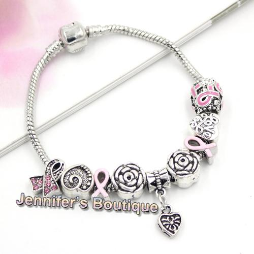 New Arrival Breast Cancer Awareness Jewelry DIY Interchangeable Breast Cancer European Bead Pink Ribbon Bracelets Jewelry Wholesaler