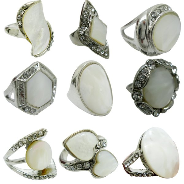 Multi-Style Mix type Rings for Women With White Shell Gemostone Finger Ring Abalone Shell Jewelry Shell Natural Stone