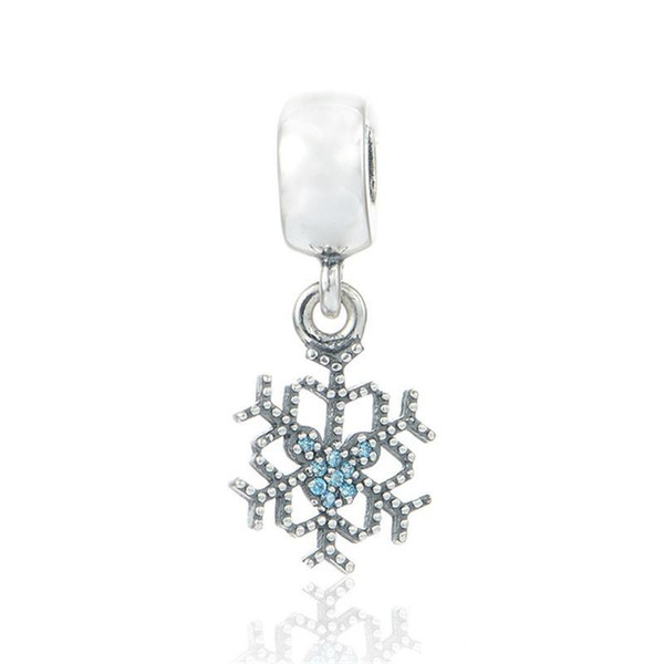 Christmas snowflake charms S925 sterling silver jewelry fits for pandora bracelets antique free shipping ale LW482H6