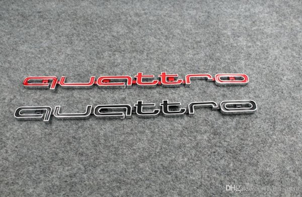 High quality Quattro Logo Emblem Badge Car Stick ABS Stickers front grill Lower trim For Audi A4 A5 A6 A7 RS5 RS6 RS7 RS Q3