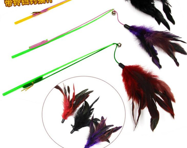 Color Turkey hair, funny cat bar, cat stick, elastic rope, bell, cat, artifact, interactive toy, big feather toy