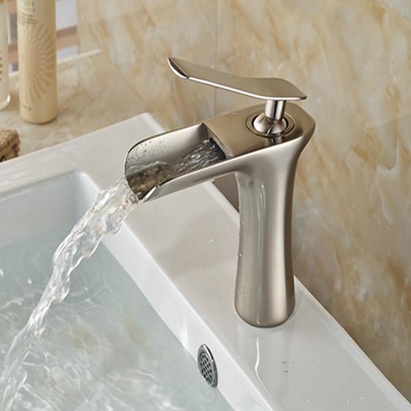 Atacado E Varejo Cachoeira Bico Torneira Do Banheiro Único Punho Buraco Vanity Sink Mixer Tap Deck Montado Níquel Escovado