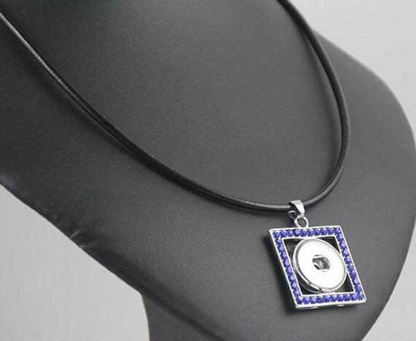 10pcs lot Vintage Snap Necklace mix colors Handmade green BUTTON and silver square pendant slide press snap button Necklace