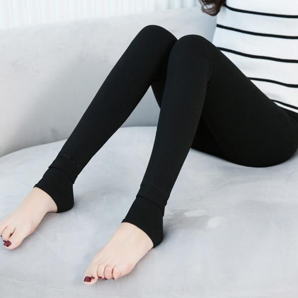 2018 Yeni Polar Tayt Sıcak Kış Faux Kadife astarlı Legging Örme Kalın Seksi İnce Tayt Tayt Elastik külotlu Ayaklar Tayt