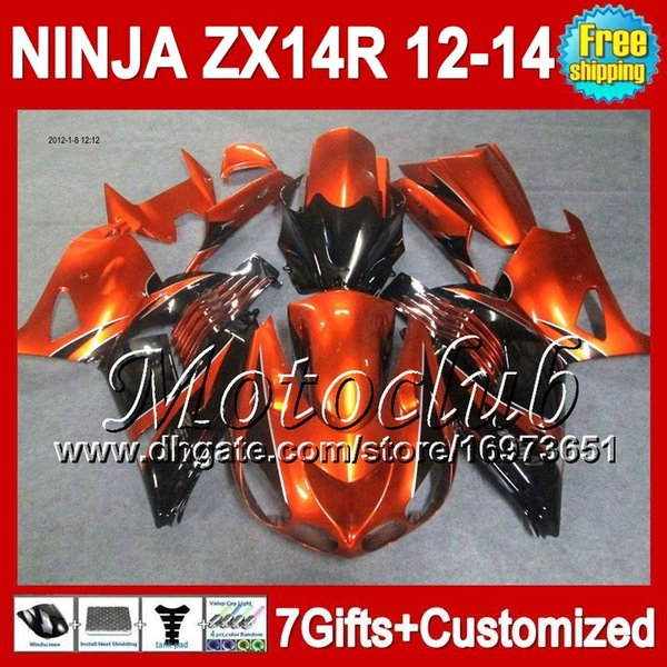 7grados para KAWASAKI 12-13 NINJA ZX-14R Naranja negro 2012 2013 2012 2013 ZX 14 R 25C216 ZX 14R ZX14R Naranja negro 12 13 12 13 ZX14 R Carenado