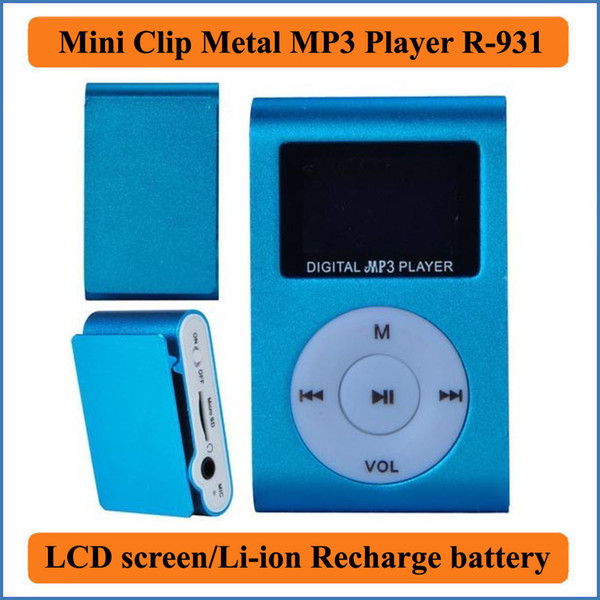 top popular Mini Clip Metal MP3 Player with LCD screen Li-ion recharging battery Support 32GB Micro SD TF Card Slot Digital mp3 music player R-831 2021