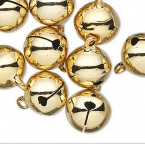 Gold Jingle Christmas Copper Bells Loose Beads Dangle Charms Pendant For Festival Jewelry Making Bracelets Cat Dog Accessories B270