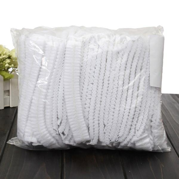 top popular White Disposable Hair Dust Net Caps Stretch Non Woven Bouffant order<$18no track 2019