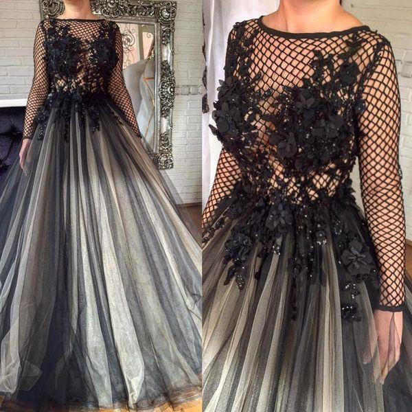 2017 Glamorous Black 3D Florals Appliques Formal Evening Dresses Pleated Nets Long Sleeve Ashi Studio Dubai Arabic Muslim Prom Party Gowns