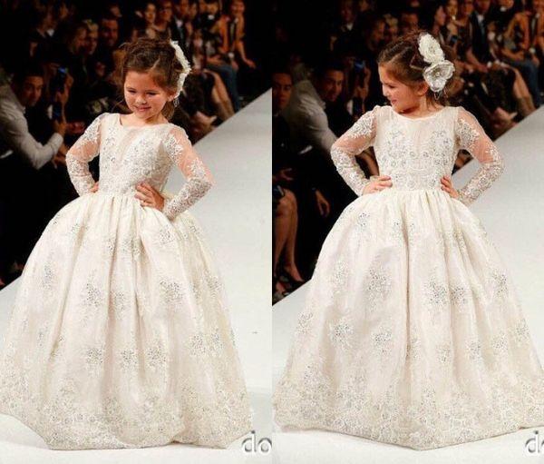2016 encantador blanco / marfil de manga larga de encaje apliques flor vestidos de las niñas piso de longitud vestido de bola Girls Pageant vestidos de boda