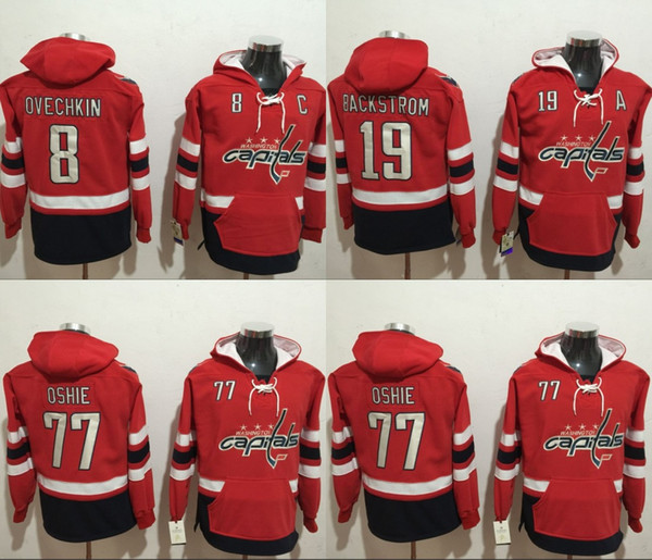 new style 76491 6524f 2019 2018 Stanley Cup Washington Capitals Hockey Hoodies 8 Alex Ovechkin 19  Nicklas Backstrom 77 T.J.Oshie Hoodie Jerseys Hooded Stiched Hoody From ...