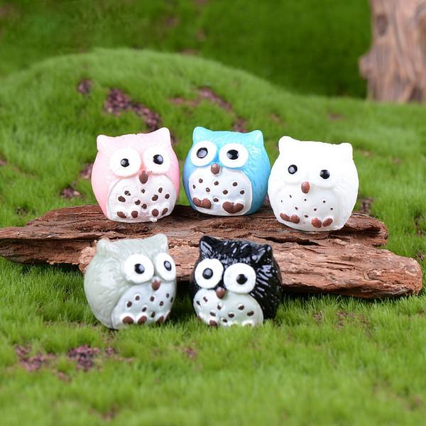 5colors Artificial Birds Owl Fairy Garden Miniatures Mini Gnomes Moss Terrariums Resin Crafts Figurines For Garden Decor DHL Shipping Free