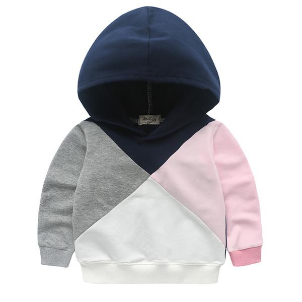 Meninas Patchwork Jumper Hoodies Branco Rosa Cinza Marinha Patch Kids Casual Ativo Primavera Outono Moletons Moda Outfit 2-8 T