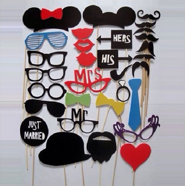31 pcs/set Photo Booth Props Glasses Mustache Lip On A Stick Wedding Birthday Party Fun Favor