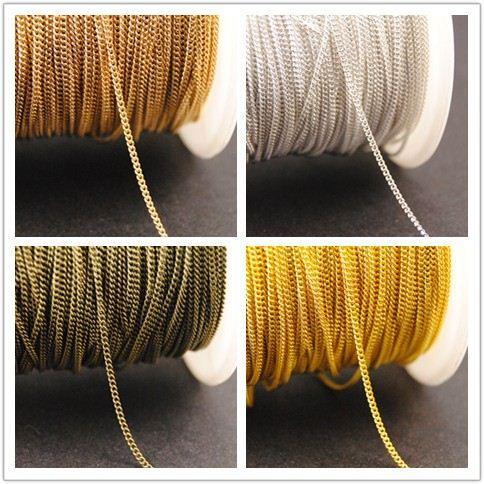 Новая цена по прейскуранту завода 10 метров 1 мм 4 цвета Финш металл латунь крошечный Снаряженная цепи ожерелье ювелирные изделия оптом