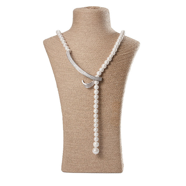 Elegant Pearl Chain Necklaces For Girl Strand Natural Long Beads Hook Pendant Necklaces Women Mother Gift Fashion Bead Necklaces