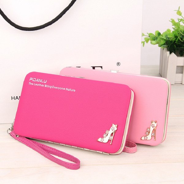 New style women's High-heeled shoes pencil case wallet Ms. Lunch box style purse Mobile IPhone 6s 7s Bags Free Shipping 1311